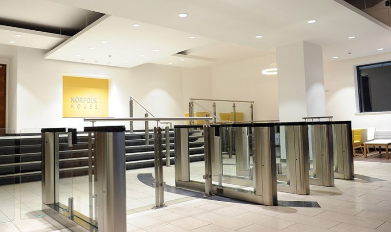 Office Block Birmingham: Installation of stainless steel handrails and glass balustrade in Reception area.: Swipe To View More Images