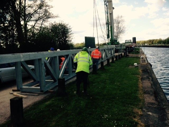 Holme Pierrepont County Park: Installation of bridge over the River Trent.: Swipe To View More Images