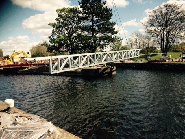 Holme Pierrepont Country Park: Installation of bridge. : Swipe To View More Images