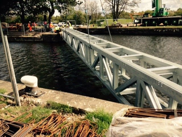 Holme Pierrepont Country Park: Installation of bridge.: Swipe To View More Images
