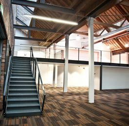 Fabrication and installation of Mezzanine floor and staircase at Birmingham office space.: Click Here To View Larger Image