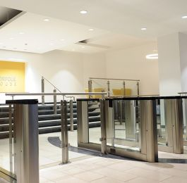 Office Block Birmingham: Installation of stainless steel handrails and glass balustrade in Reception area.: Click Here To View Larger Image